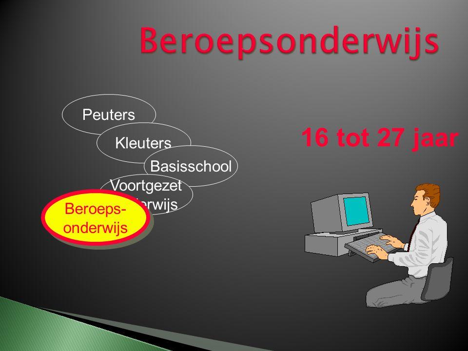 Peuters Kleuters Basisschool Voortgezet onderwijs 16 tot 27 jaar Beroeps- onderwijs Beroeps- onderwijs