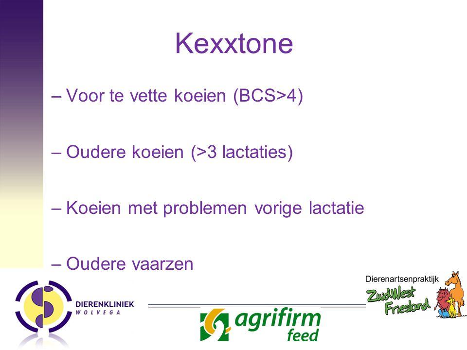 Kexxtone –Voor te vette koeien (BCS>4) –Oudere koeien (>3 lactaties) –Koeien met problemen vorige lactatie –Oudere vaarzen
