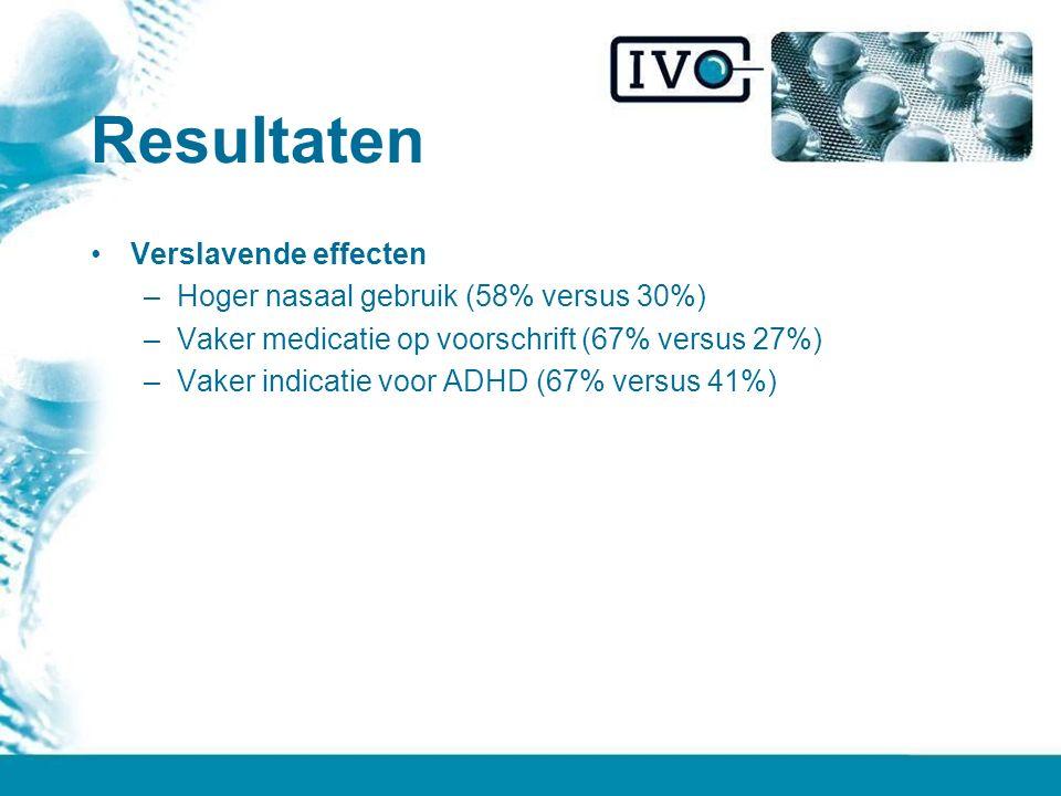 Resultaten Verslavende effecten –Hoger nasaal gebruik (58% versus 30%) –Vaker medicatie op voorschrift (67% versus 27%) –Vaker indicatie voor ADHD (67% versus 41%)