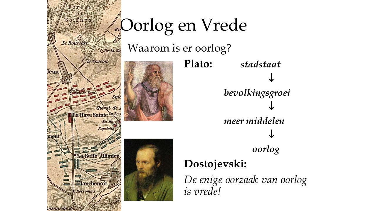 Oorlog en Vrede Waarom is er oorlog? Plato: stadstaat  bevolkingsgroei  meer middelen  oorlog Dostojevski: De enige oorzaak van oorlog is vrede!