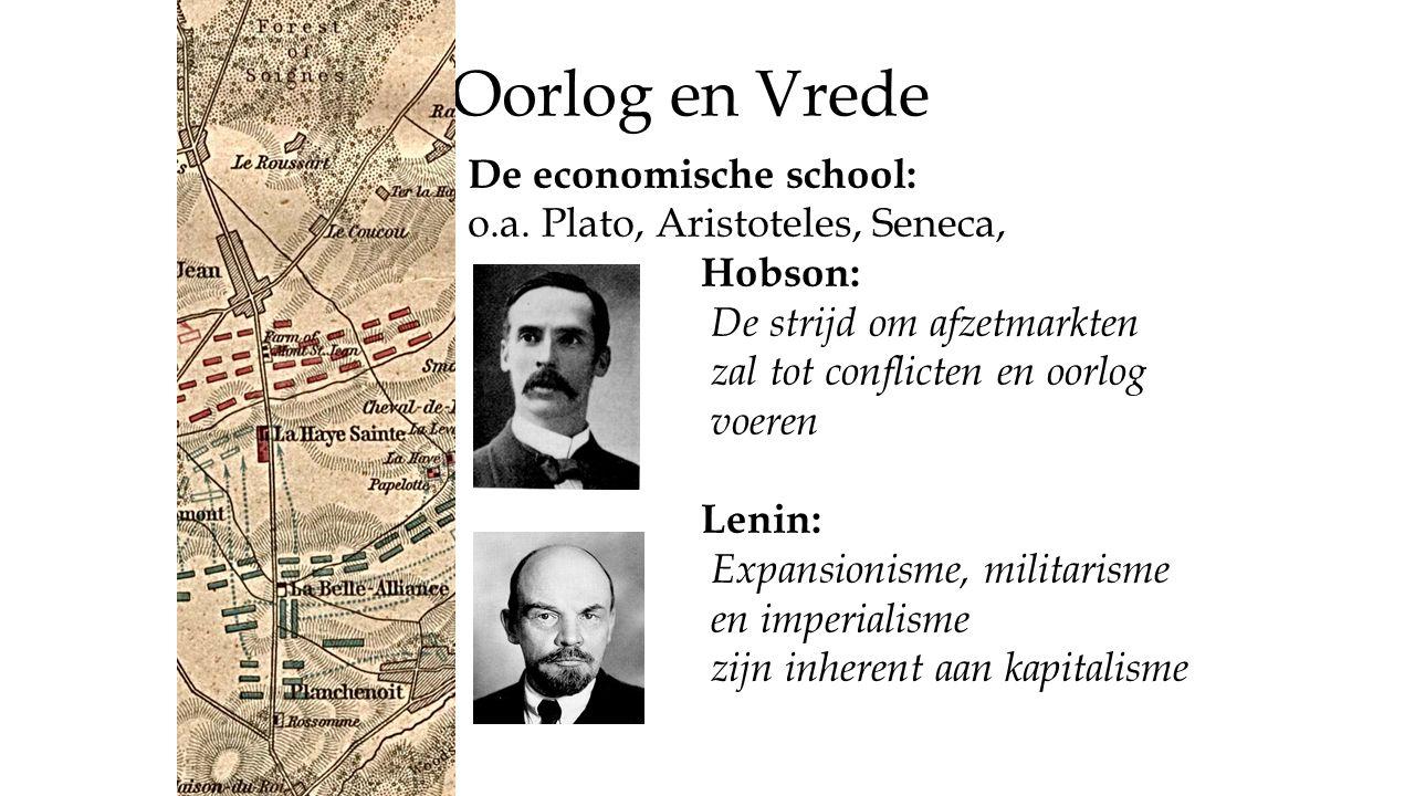 Oorlog en Vrede De economische school: o.a. Plato, Aristoteles, Seneca, Hobson: De strijd om afzetmarkten zal tot conflicten en oorlog voeren Lenin: E
