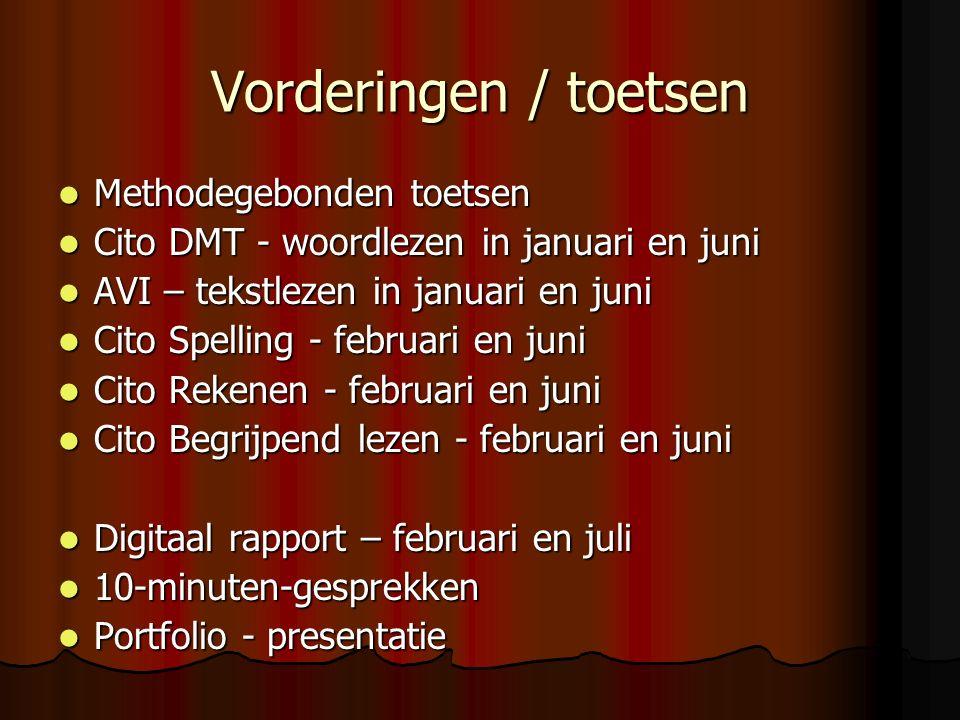 Vorderingen / toetsen Methodegebonden toetsen Methodegebonden toetsen Cito DMT - woordlezen in januari en juni Cito DMT - woordlezen in januari en juni AVI – tekstlezen in januari en juni AVI – tekstlezen in januari en juni Cito Spelling - februari en juni Cito Spelling - februari en juni Cito Rekenen - februari en juni Cito Rekenen - februari en juni Cito Begrijpend lezen - februari en juni Cito Begrijpend lezen - februari en juni Digitaal rapport – februari en juli Digitaal rapport – februari en juli 10-minuten-gesprekken 10-minuten-gesprekken Portfolio - presentatie Portfolio - presentatie