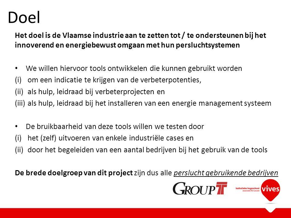 Doel Het doel is de Vlaamse industrie aan te zetten tot / te ondersteunen bij het innoverend en energiebewust omgaan met hun persluchtsystemen We willen hiervoor tools ontwikkelen die kunnen gebruikt worden (i)om een indicatie te krijgen van de verbeterpotenties, (ii)als hulp, leidraad bij verbeterprojecten en (iii)als hulp, leidraad bij het installeren van een energie management systeem De bruikbaarheid van deze tools willen we testen door (i)het (zelf) uitvoeren van enkele industriële cases en (ii)door het begeleiden van een aantal bedrijven bij het gebruik van de tools De brede doelgroep van dit project zijn dus alle perslucht gebruikende bedrijven