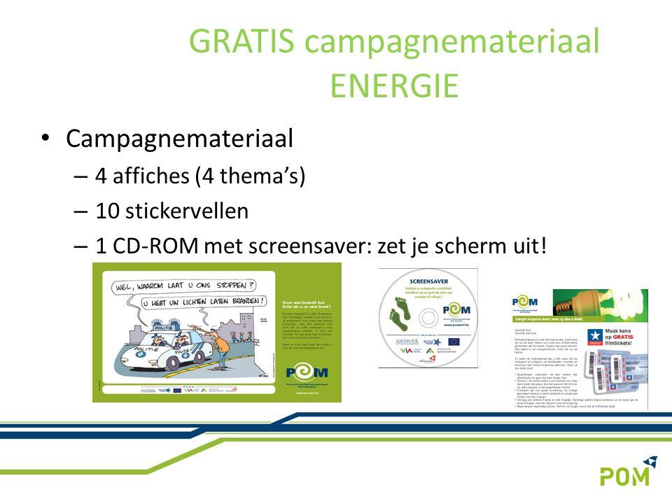 Campagnemateriaal – 4 affiches (4 thema's) – 10 stickervellen – 1 CD-ROM met screensaver: zet je scherm uit.