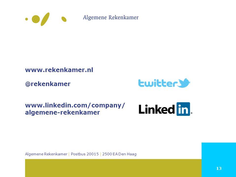 13 Algemene Rekenkamer | Postbus 20015 | 2500 EA Den Haag www.rekenkamer.nl @rekenkamer www.linkedin.com/company/ algemene-rekenkamer
