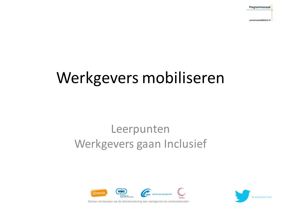 Werkgevers mobiliseren Leerpunten Werkgevers gaan Inclusief