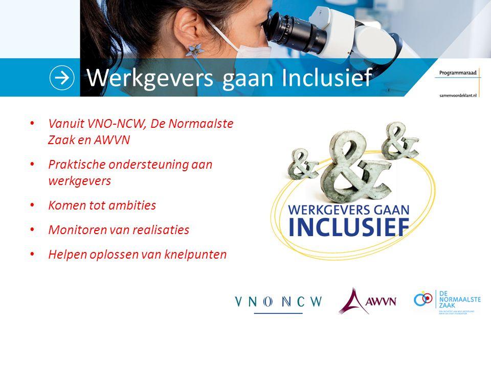 Werkgevers gaan Inclusief Vanuit VNO-NCW, De Normaalste Zaak en AWVN Praktische ondersteuning aan werkgevers Komen tot ambities Monitoren van realisaties Helpen oplossen van knelpunten