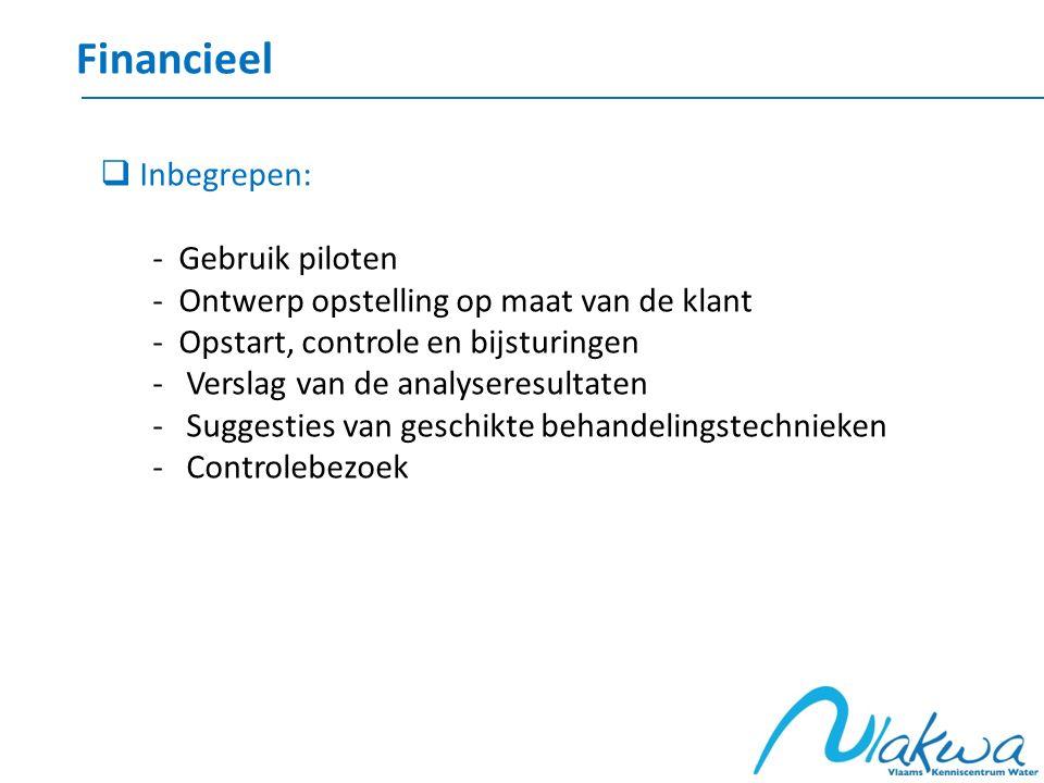 Financieel  Inbegrepen: - Gebruik piloten - Ontwerp opstelling op maat van de klant - Opstart, controle en bijsturingen - Verslag van de analyseresul