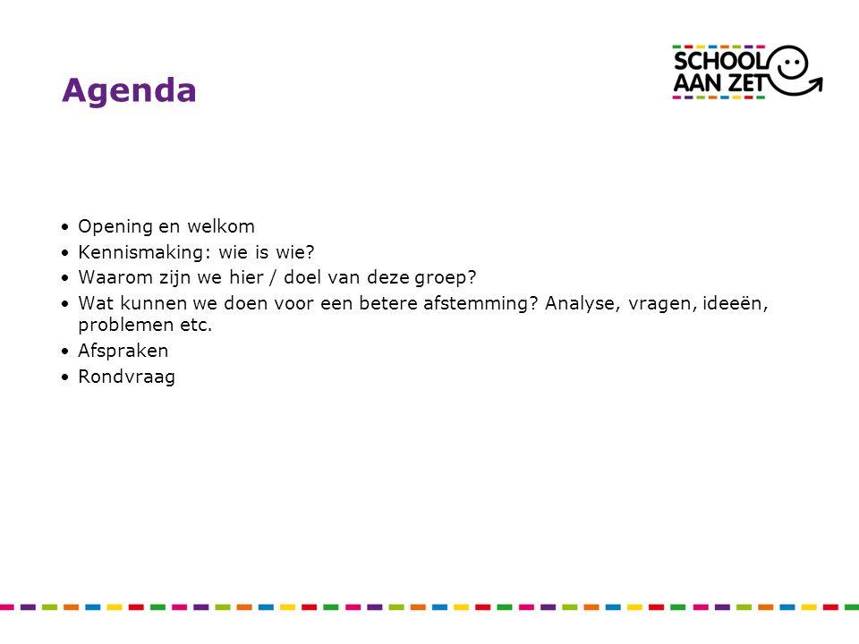Agenda Opening en welkom Kennismaking: wie is wie? Waarom zijn we hier / doel van deze groep? Wat kunnen we doen voor een betere afstemming? Analyse,