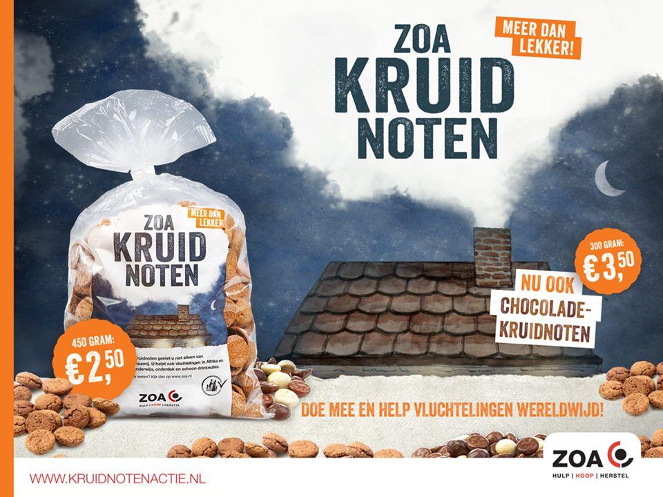 ZOA zorgt ervoor dat: Kinderen naar school kunnen Mensen schoon (drink)water hebben Er meer voedsel komt door landbouw projecten Ondersteun het werk van ZOA en (ver)koop kruidnoten.
