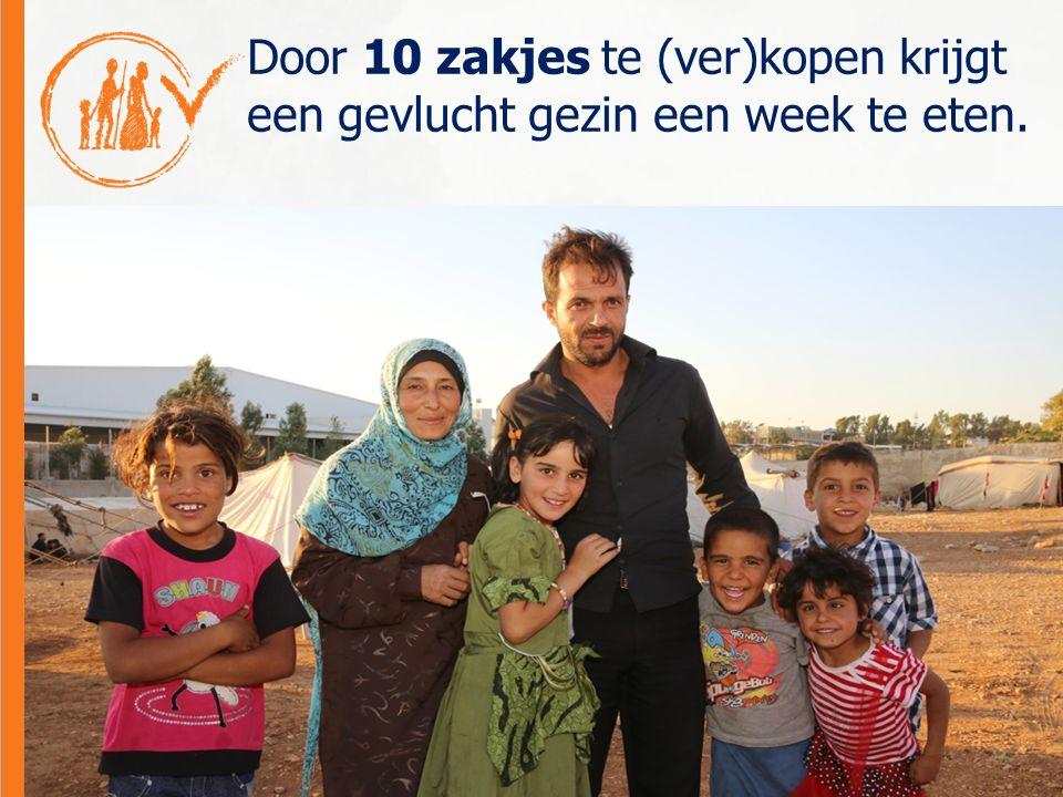 Door 10 zakjes te (ver)kopen krijgt een gevlucht gezin een week te eten.