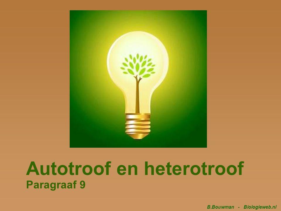 Autotroof en heterotroof Paragraaf 9 B.Bouwman - Biologieweb.nl