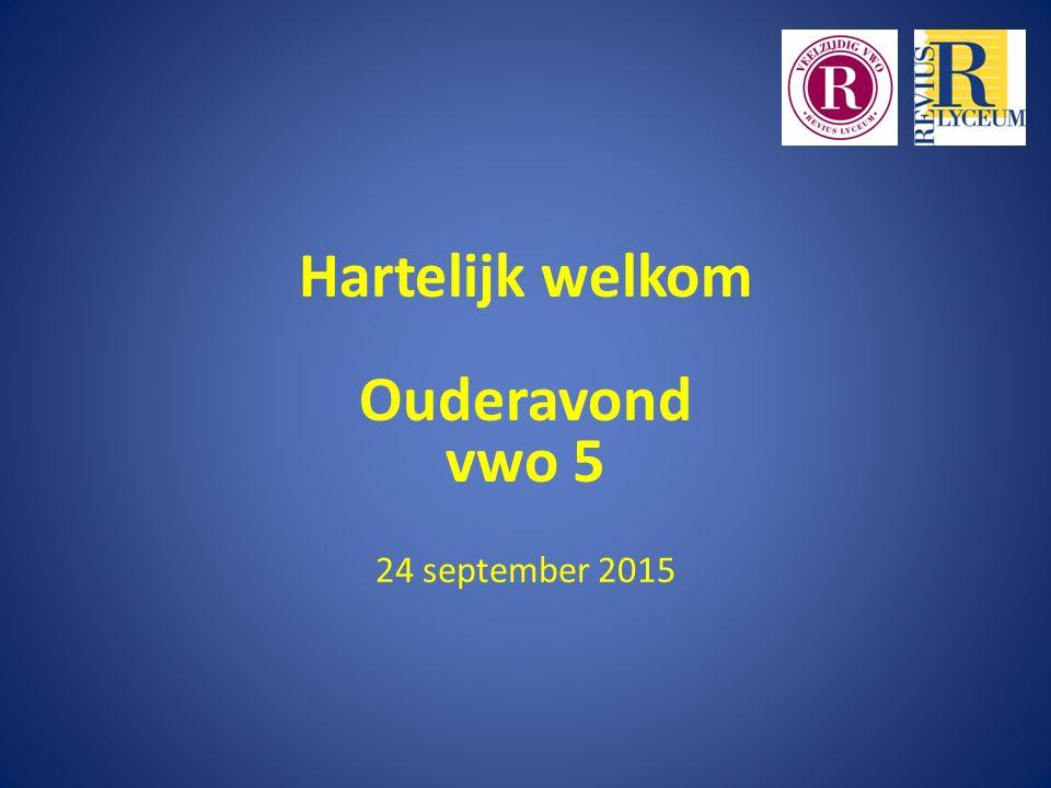Hartelijk welkom Ouderavond vwo 5 24 september 2015