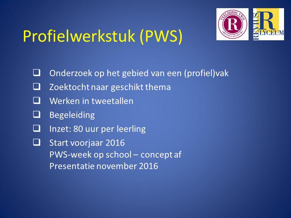 Profielwerkstuk (PWS)  Onderzoek op het gebied van een (profiel)vak  Zoektocht naar geschikt thema  Werken in tweetallen  Begeleiding  Inzet: 80
