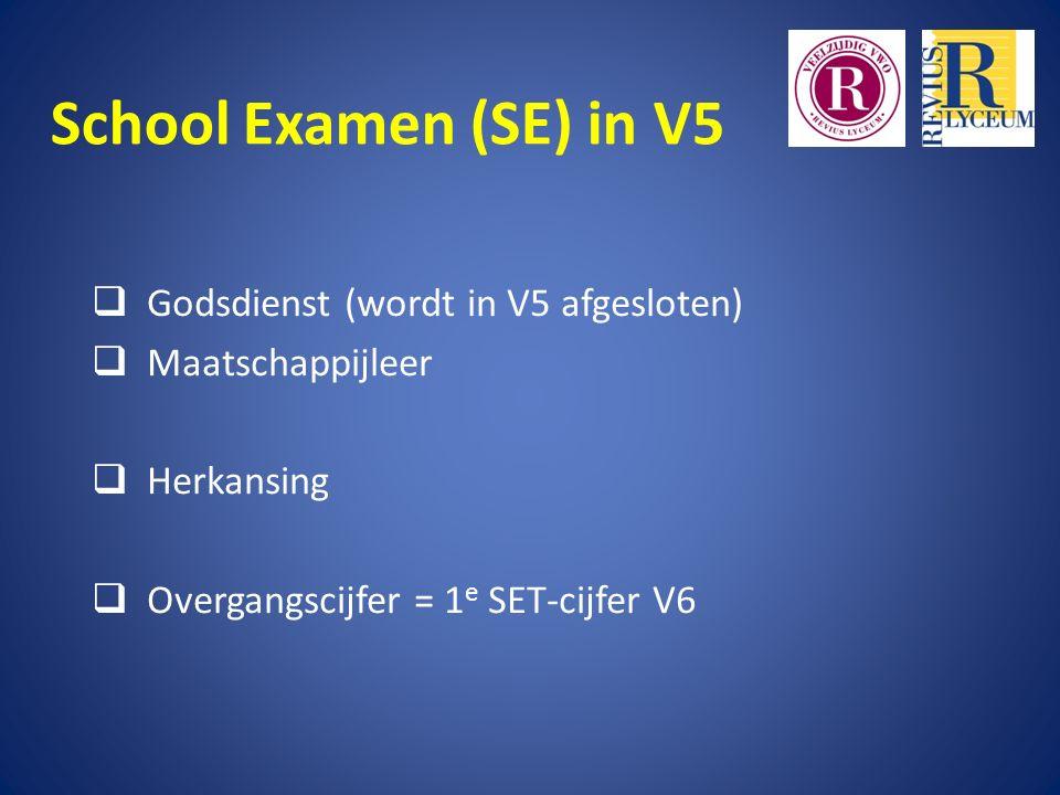 School Examen (SE) in V5  Godsdienst (wordt in V5 afgesloten)  Maatschappijleer  Herkansing  Overgangscijfer = 1 e SET-cijfer V6