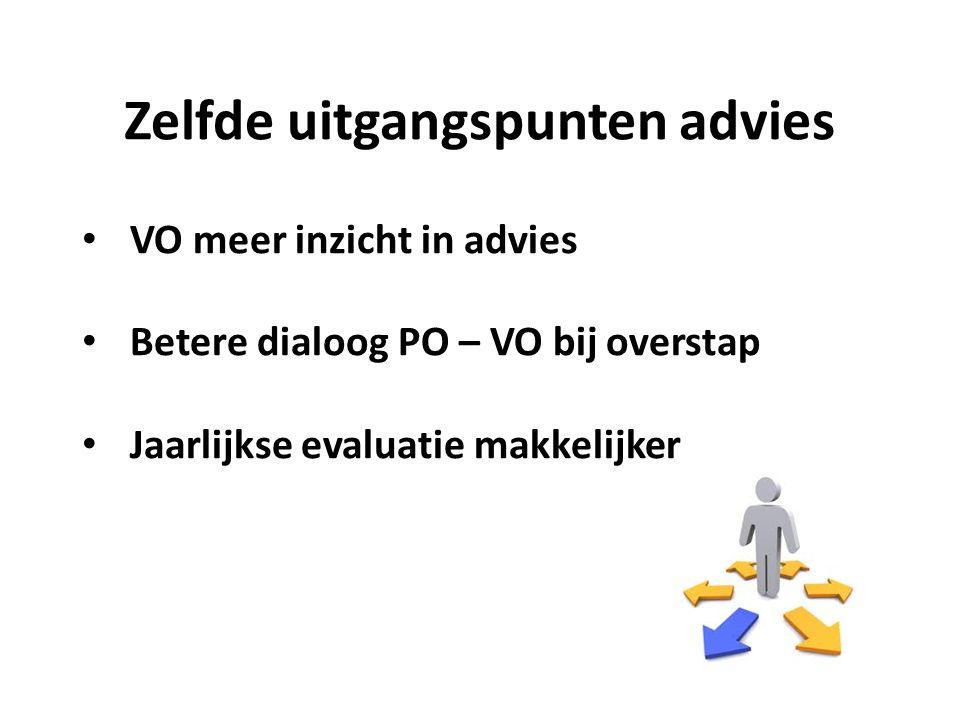 Zelfde uitgangspunten advies VO meer inzicht in advies Betere dialoog PO – VO bij overstap Jaarlijkse evaluatie makkelijker