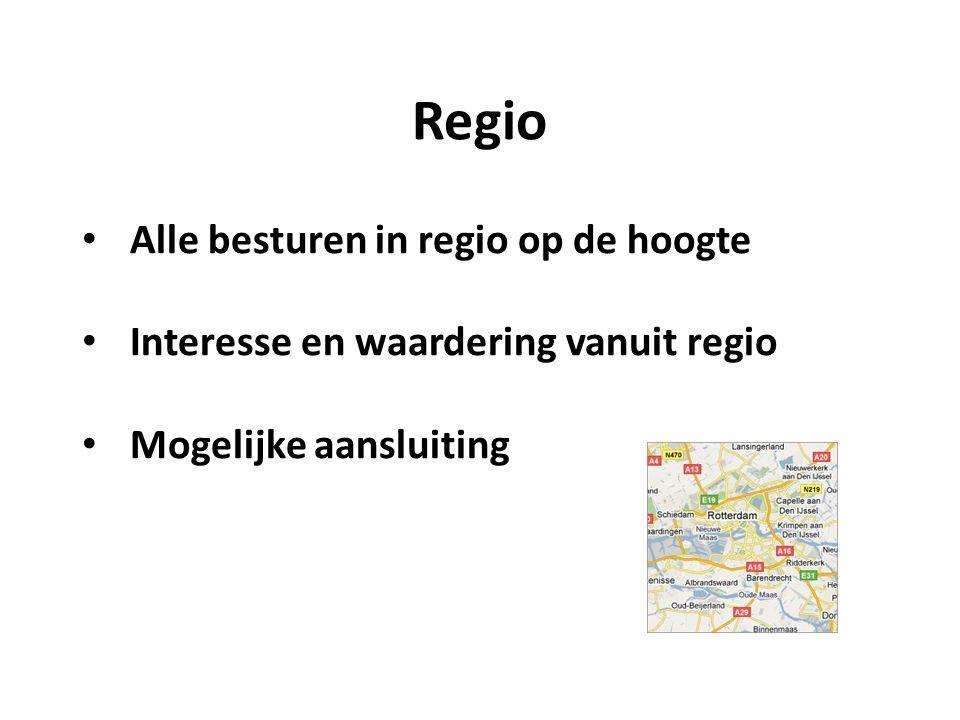 Regio Alle besturen in regio op de hoogte Interesse en waardering vanuit regio Mogelijke aansluiting