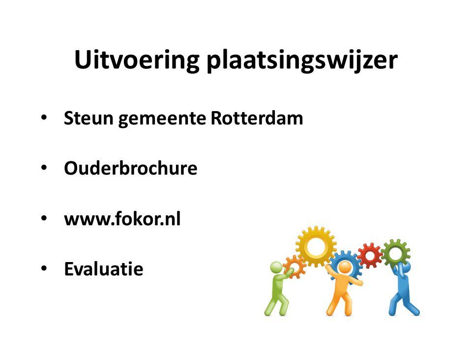 Uitvoering plaatsingswijzer Steun gemeente Rotterdam Ouderbrochure www.fokor.nl Evaluatie