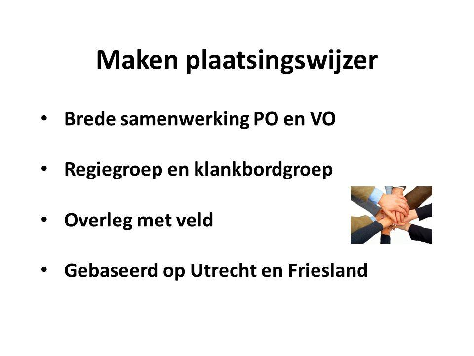 Maken plaatsingswijzer Brede samenwerking PO en VO Regiegroep en klankbordgroep Overleg met veld Gebaseerd op Utrecht en Friesland