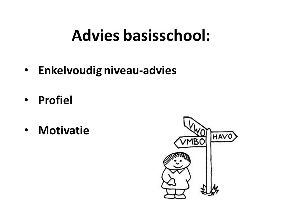 Advies basisschool: Enkelvoudig niveau-advies Profiel Motivatie
