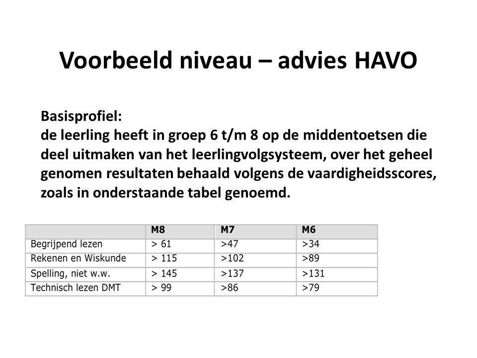 Voorbeeld niveau – advies HAVO Basisprofiel: de leerling heeft in groep 6 t/m 8 op de middentoetsen die deel uitmaken van het leerlingvolgsysteem, over het geheel genomen resultaten behaald volgens de vaardigheidsscores, zoals in onderstaande tabel genoemd.