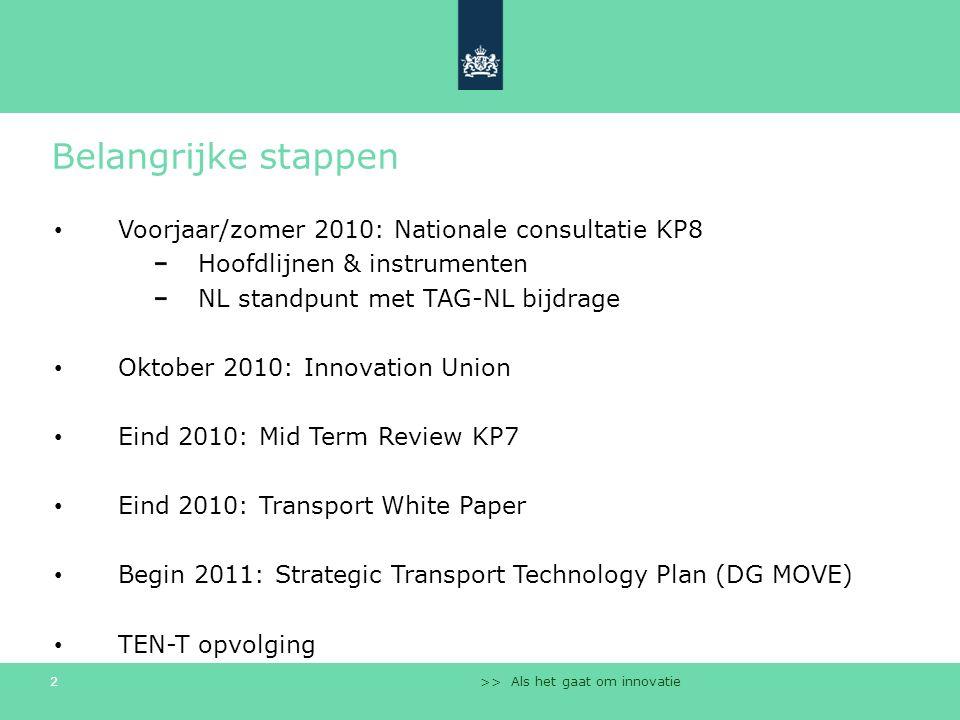 >> Als het gaat om innovatie 2 Belangrijke stappen Voorjaar/zomer 2010: Nationale consultatie KP8 Hoofdlijnen & instrumenten NL standpunt met TAG-NL b