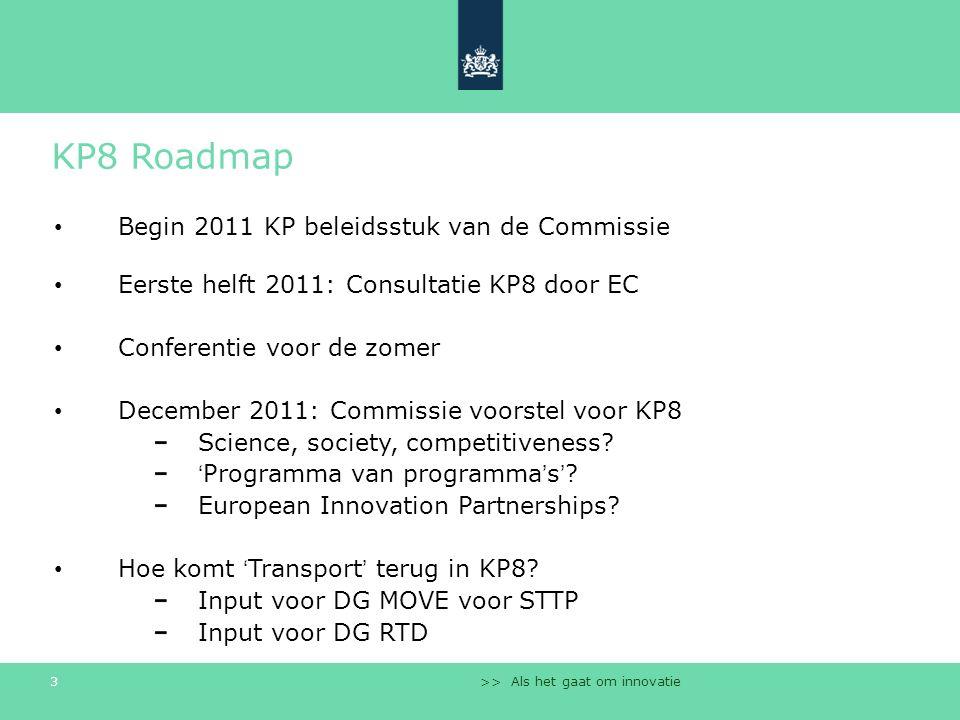 >> Als het gaat om innovatie 3 KP8 Roadmap Begin 2011 KP beleidsstuk van de Commissie Eerste helft 2011: Consultatie KP8 door EC Conferentie voor de zomer December 2011: Commissie voorstel voor KP8 Science, society, competitiveness.