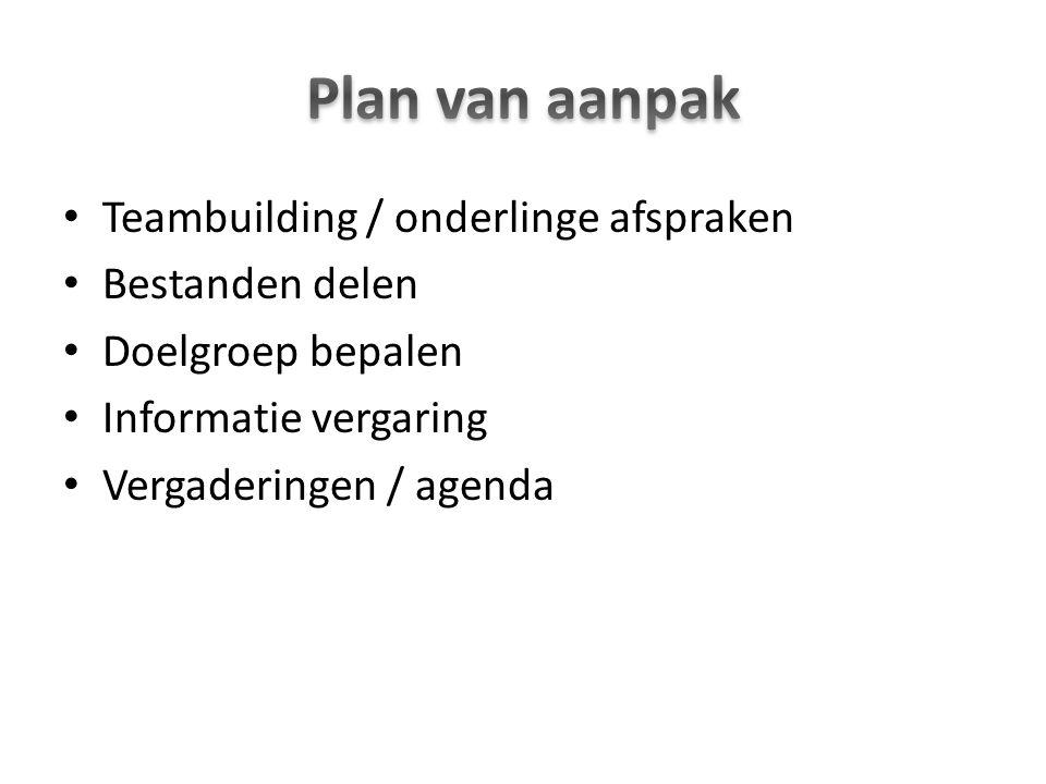 Teambuilding / onderlinge afspraken Bestanden delen Doelgroep bepalen Informatie vergaring Vergaderingen / agenda