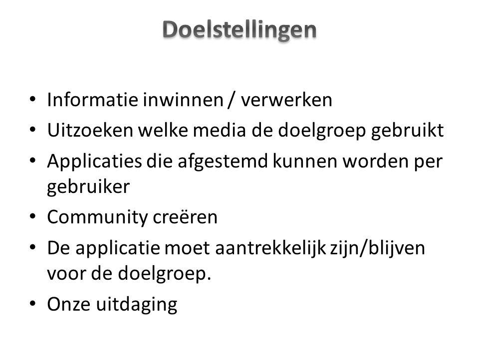 Informatie inwinnen / verwerken Uitzoeken welke media de doelgroep gebruikt Applicaties die afgestemd kunnen worden per gebruiker Community creëren De