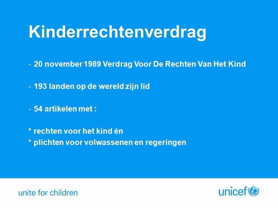 Kinderrechtenverdrag -20 november 1989 Verdrag Voor De Rechten Van Het Kind -193 landen op de wereld zijn lid -54 artikelen met : * rechten voor het kind én * plichten voor volwassenen en regeringen