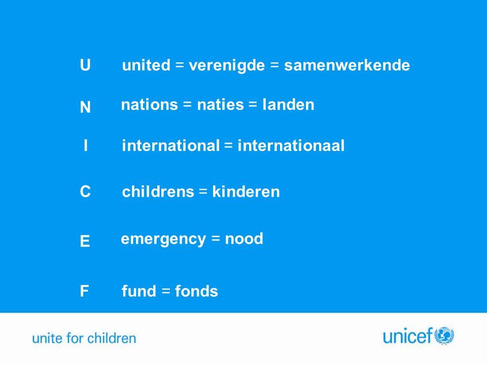 U N I C E F united = verenigde = samenwerkende nations = naties = landen international = internationaal childrens = kinderen emergency = nood fund = fonds