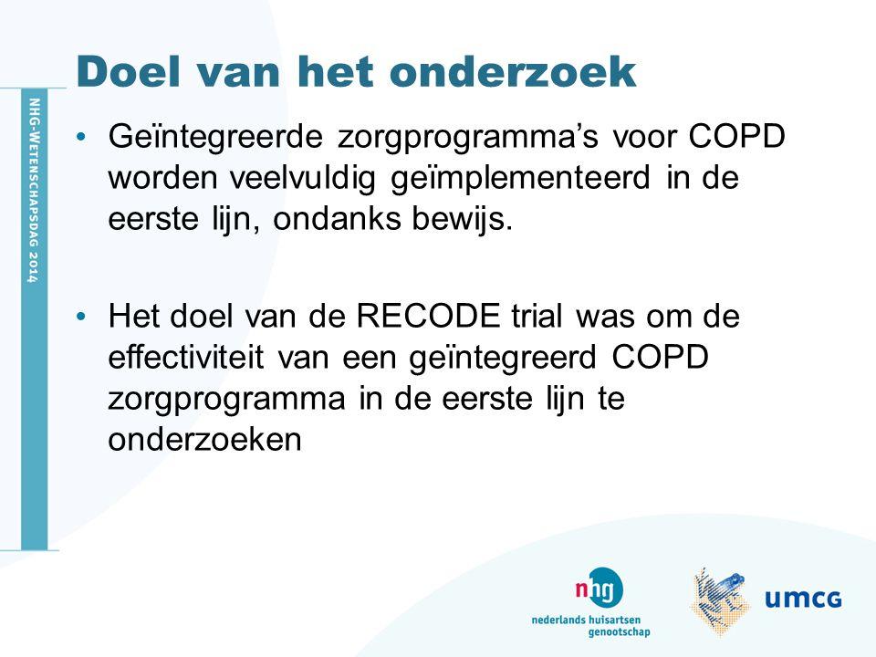 Doel van het onderzoek Geïntegreerde zorgprogramma's voor COPD worden veelvuldig geïmplementeerd in de eerste lijn, ondanks bewijs. Het doel van de RE