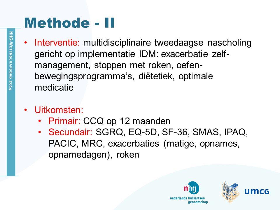 Methode - II Interventie: multidisciplinaire tweedaagse nascholing gericht op implementatie IDM: exacerbatie zelf- management, stoppen met roken, oefen- bewegingsprogramma's, diëtetiek, optimale medicatie Uitkomsten: Primair: CCQ op 12 maanden Secundair: SGRQ, EQ-5D, SF-36, SMAS, IPAQ, PACIC, MRC, exacerbaties (matige, opnames, opnamedagen), roken