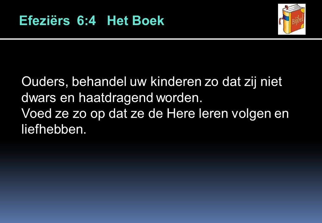 Efeziërs 6:4 Het Boek Ouders, behandel uw kinderen zo dat zij niet dwars en haatdragend worden.