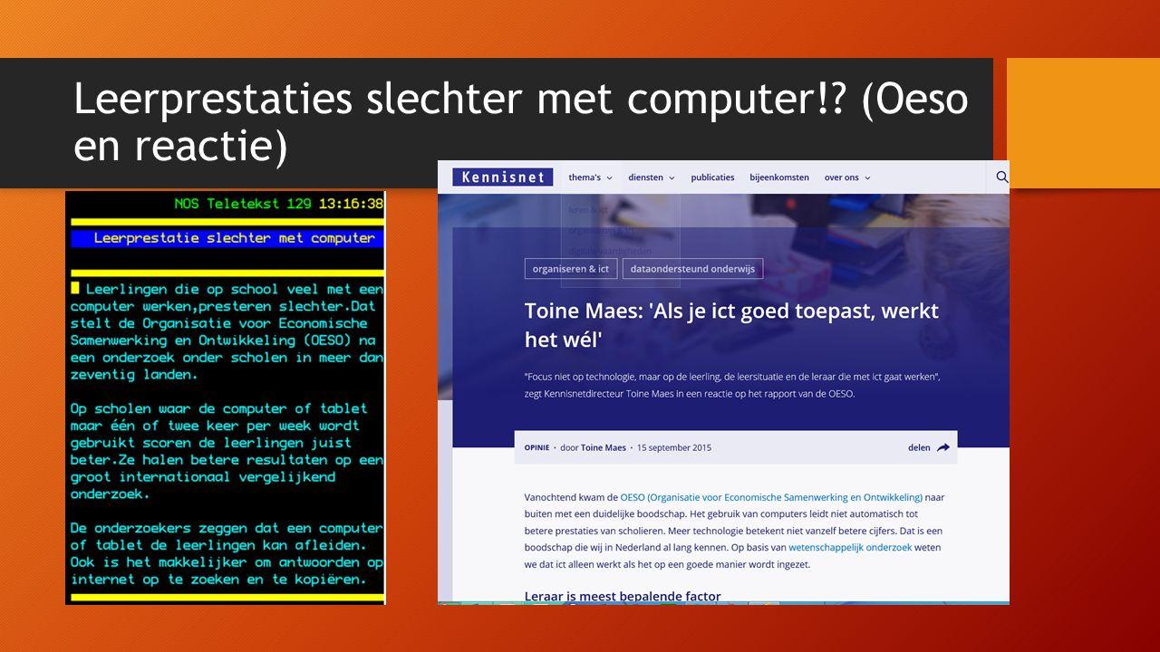 Leerprestaties slechter met computer!? (Oeso en reactie)