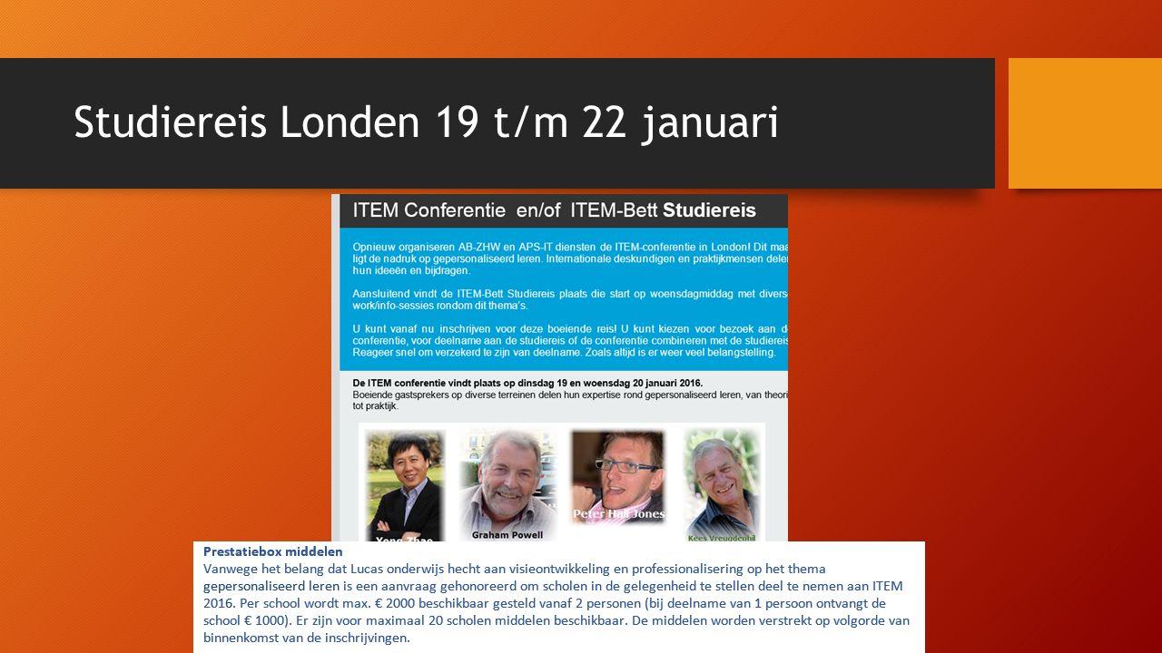 Studiereis Londen 19 t/m 22 januari