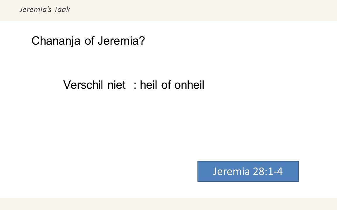 Jeremia's Taak Chananja of Jeremia? Jeremia 28:1-4 Verschil niet: heil of onheil