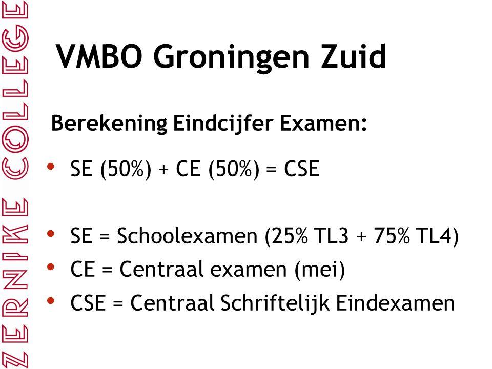 VMBO Groningen Zuid Berekening Eindcijfer Examen: SE (50%) + CE (50%) = CSE SE = Schoolexamen (25% TL3 + 75% TL4) CE = Centraal examen (mei) CSE = Cen