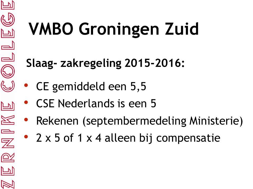 VMBO Groningen Zuid Slaag- zakregeling 2015-2016: CE gemiddeld een 5,5 CSE Nederlands is een 5 Rekenen (septembermedeling Ministerie) 2 x 5 of 1 x 4 a