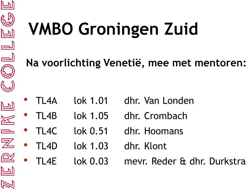 VMBO Groningen Zuid Na voorlichting Venetië, mee met mentoren: TL4Alok 1.01 dhr. Van Londen TL4Blok 1.05dhr. Crombach TL4Clok 0.51dhr. Hoomans TL4Dlok