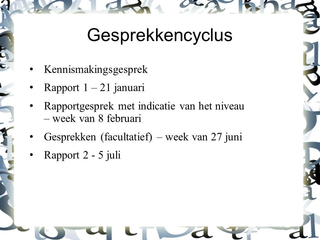 Gesprekkencyclus Kennismakingsgesprek Rapport 1 – 21 januari Rapportgesprek met indicatie van het niveau – week van 8 februari Gesprekken (facultatief) – week van 27 juni Rapport 2 - 5 juli