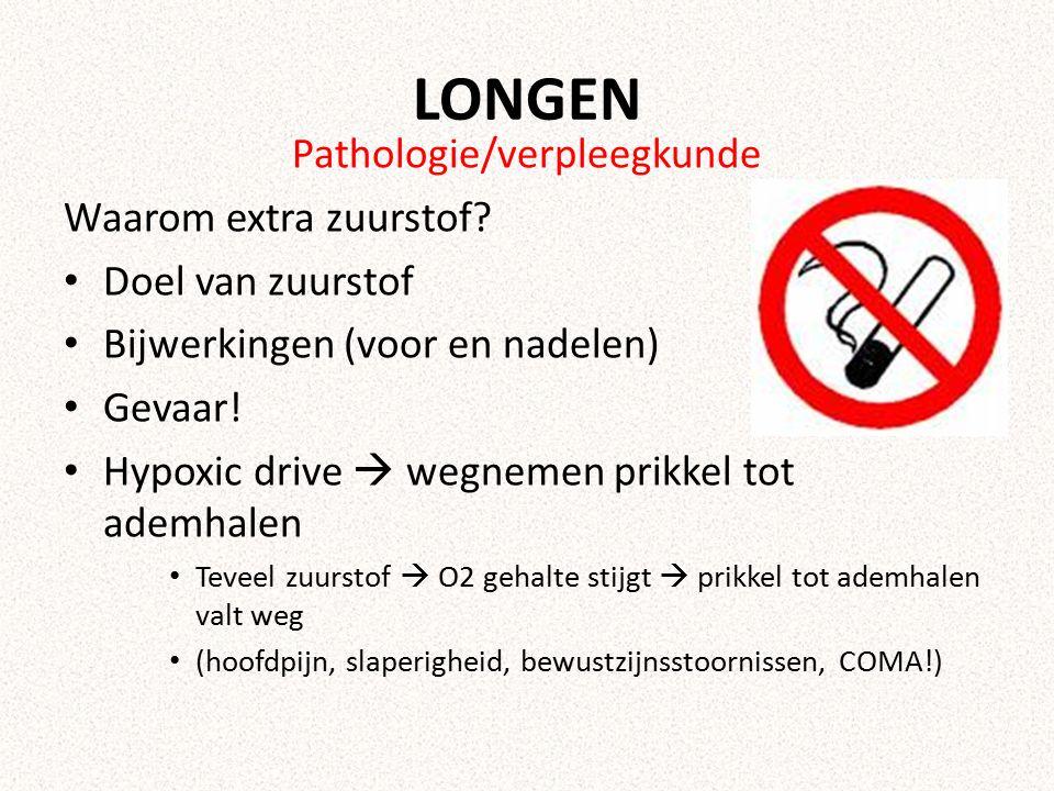 LONGEN Pathologie/verpleegkunde Waarom extra zuurstof? Doel van zuurstof Bijwerkingen (voor en nadelen) Gevaar! Hypoxic drive  wegnemen prikkel tot a