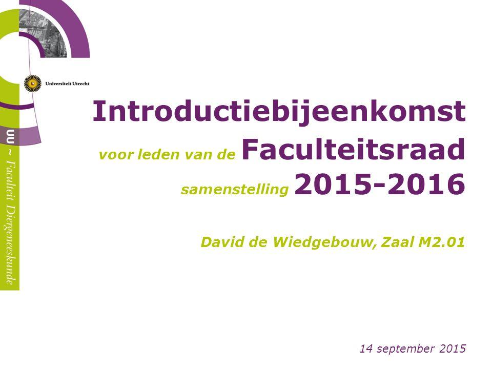 Introductiebijeenkomst voor leden van de Faculteitsraad samenstelling 2015-2016 David de Wiedgebouw, Zaal M2.01 14 september 2015