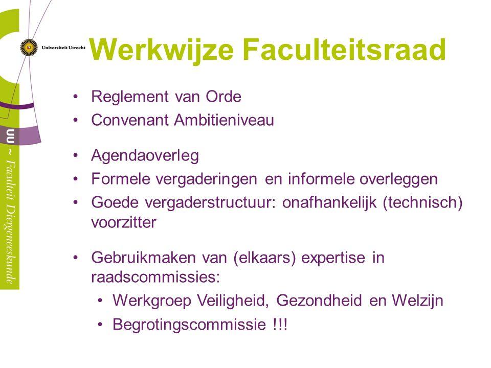 Werkwijze Faculteitsraad Reglement van Orde Convenant Ambitieniveau Agendaoverleg Formele vergaderingen en informele overleggen Goede vergaderstructuu