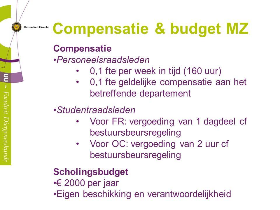 Compensatie Personeelsraadsleden 0,1 fte per week in tijd (160 uur) 0,1 fte geldelijke compensatie aan het betreffende departement Studentraadsleden V