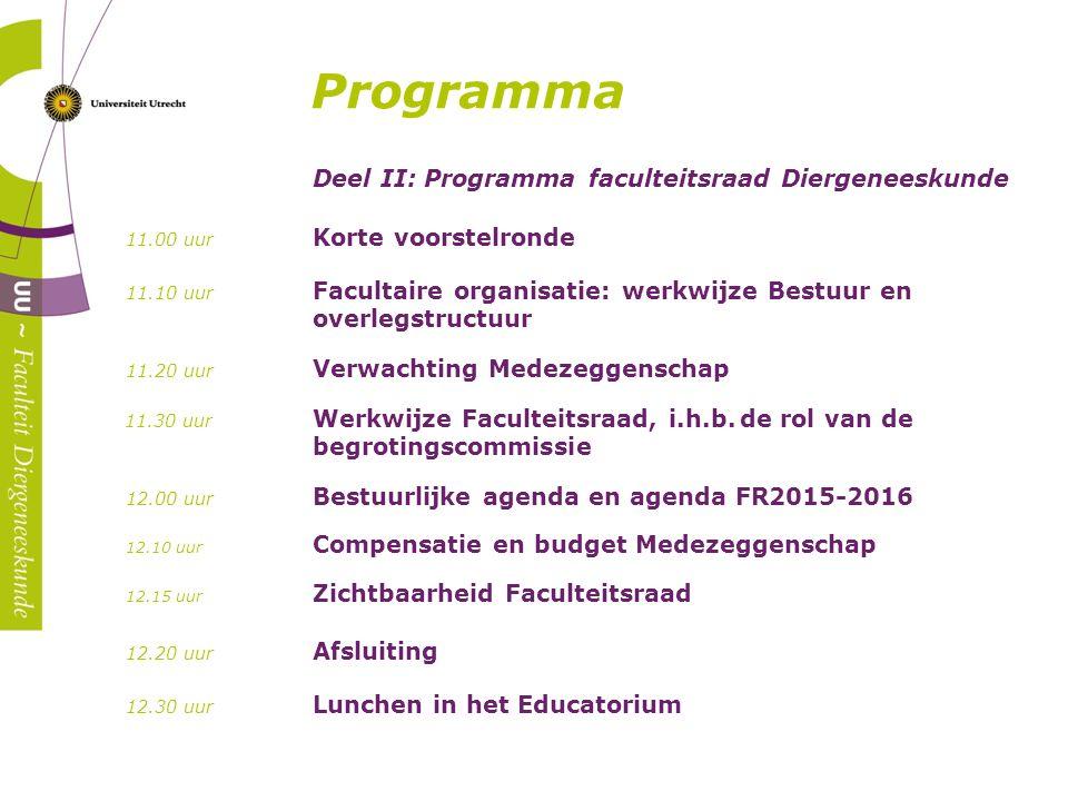 ` Programma Deel II: Programma faculteitsraad Diergeneeskunde 11.00 uur Korte voorstelronde 11.10 uur Facultaire organisatie: werkwijze Bestuur en ove