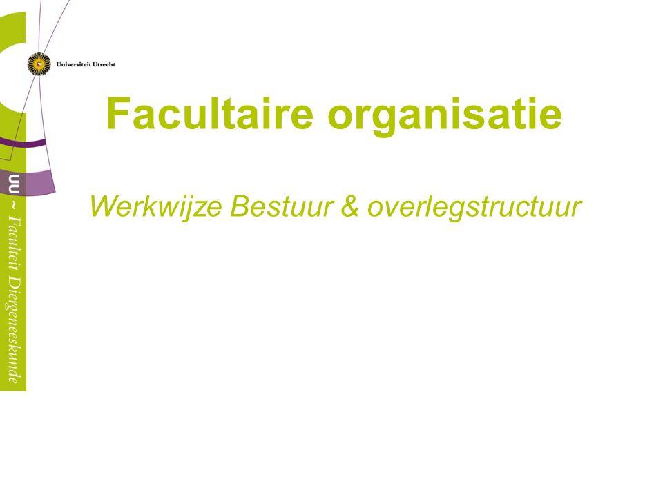 Facultaire organisatie Werkwijze Bestuur & overlegstructuur