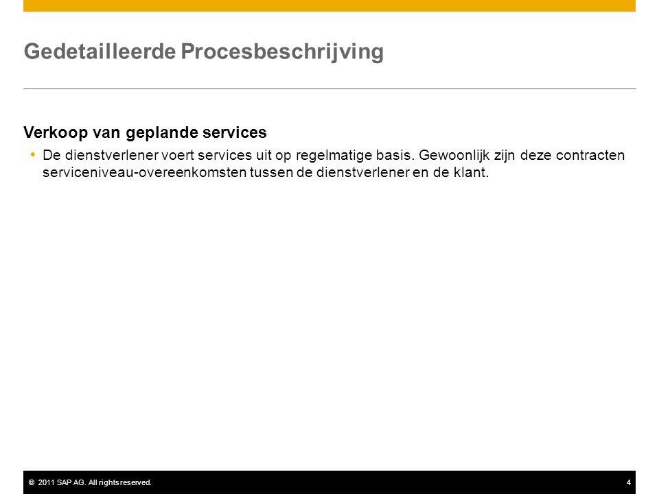 ©2011 SAP AG. All rights reserved.4 Gedetailleerde Procesbeschrijving Verkoop van geplande services  De dienstverlener voert services uit op regelmat