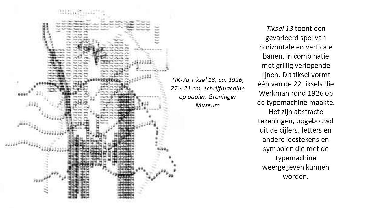 Tiksel 13 toont een gevarieerd spel van horizontale en verticale banen, in combinatie met grillig verlopende lijnen.