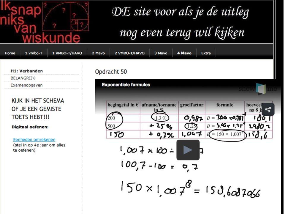 a)1,23 x 100 = 123% 123 – 100 = 23 Er komt dus elke dag 23% bij b)24 = 12 x 1,23 t De verdubbelingstijd is 4 dagen c)80 = 12 x 1,23 t tOppervlakte.